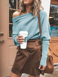 Womens Casual Long Sleeve Off The Shoulder Loose Knit sweater Tops