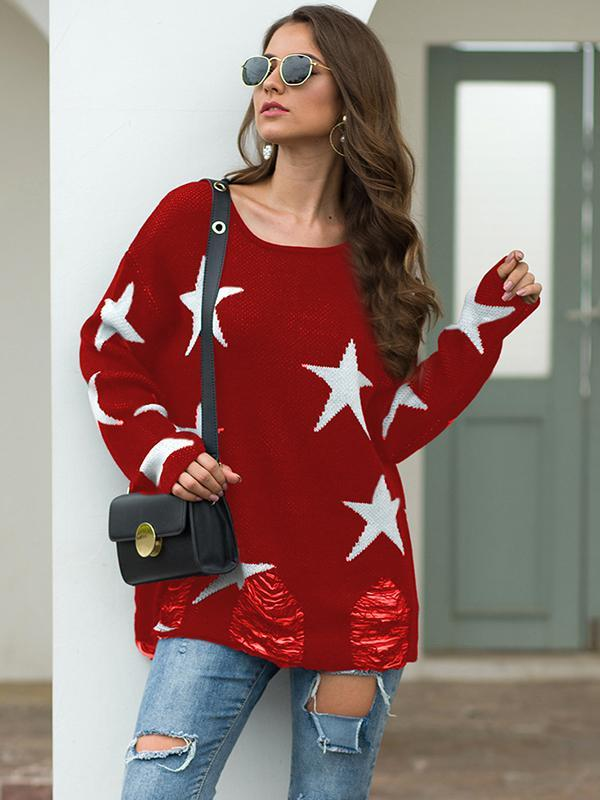 Womens Casual Long Sleeve round neck Knit sweater Tops
