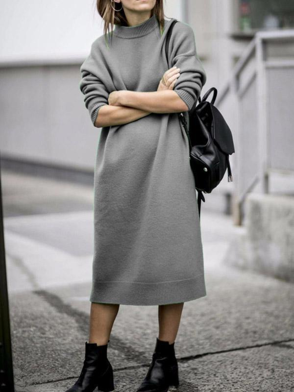 Women's Casual Loose Pure Color Pullover Dress