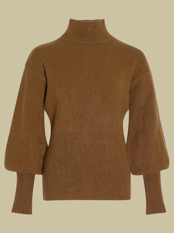 Women's Casual Solid Color Collar Lantern Sleeve Knit Sweater
