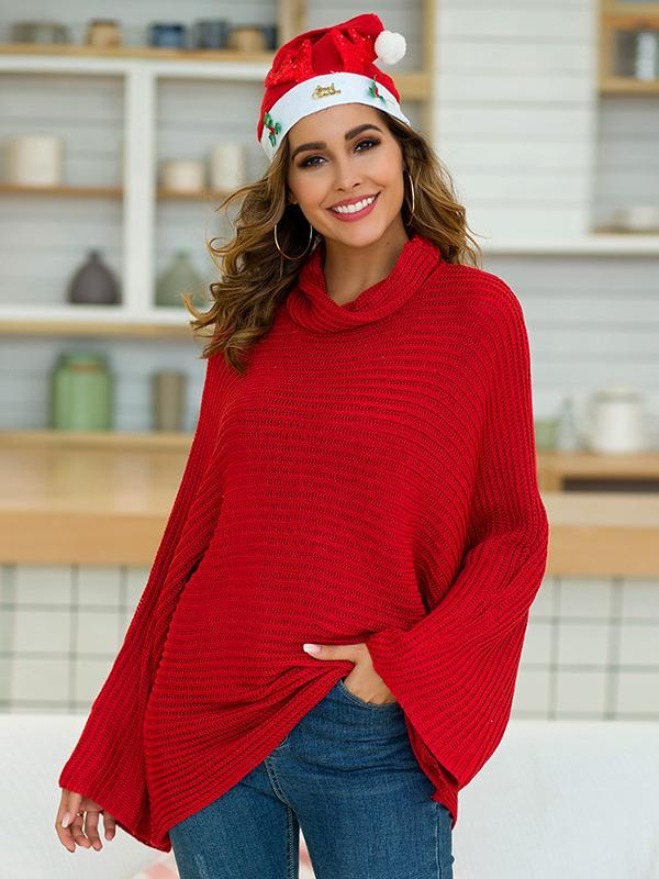 Women's Casual Solid Color Trumpet Sleeve Turtleneck Sweater