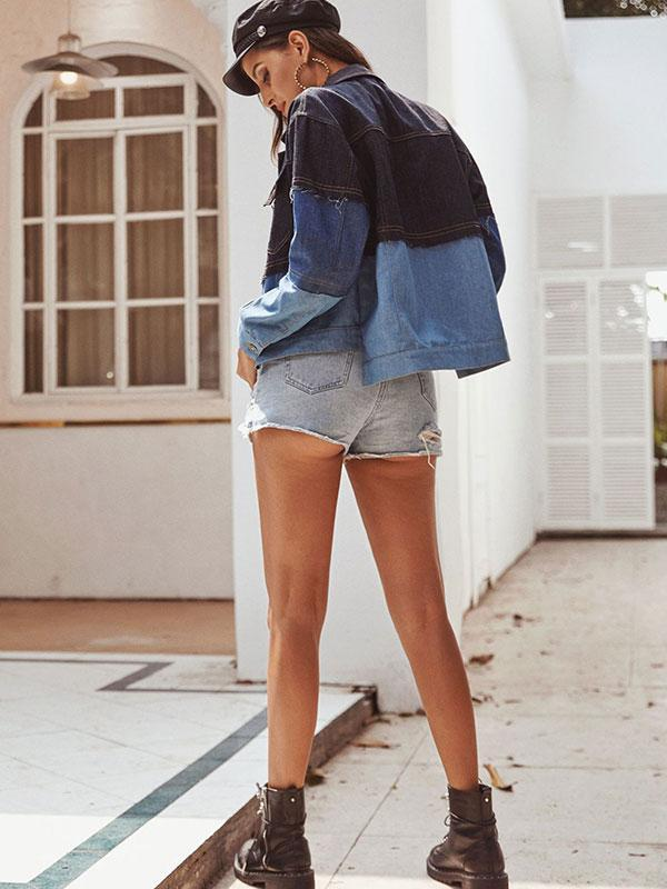 Women's Colorblock Long Sleeve Short Denim Jacket
