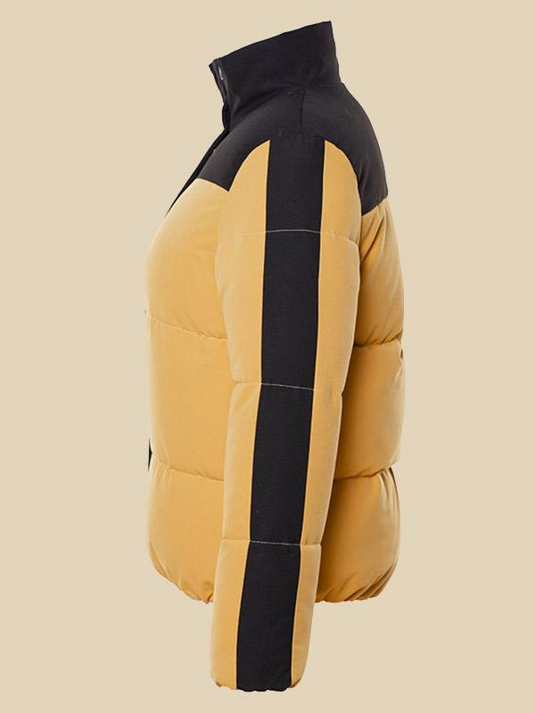 Women's Fashion contrast color stitching hooded thick coat