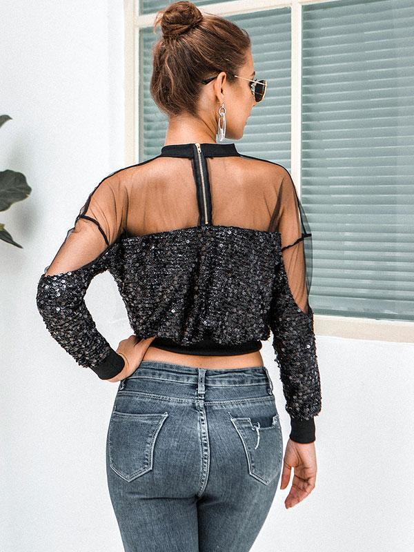 Women's Fashion sexy sequins see-through top