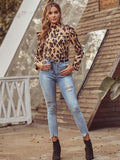 Women's Fashionable Leopard Print Classic Top with Lantern Sleeve