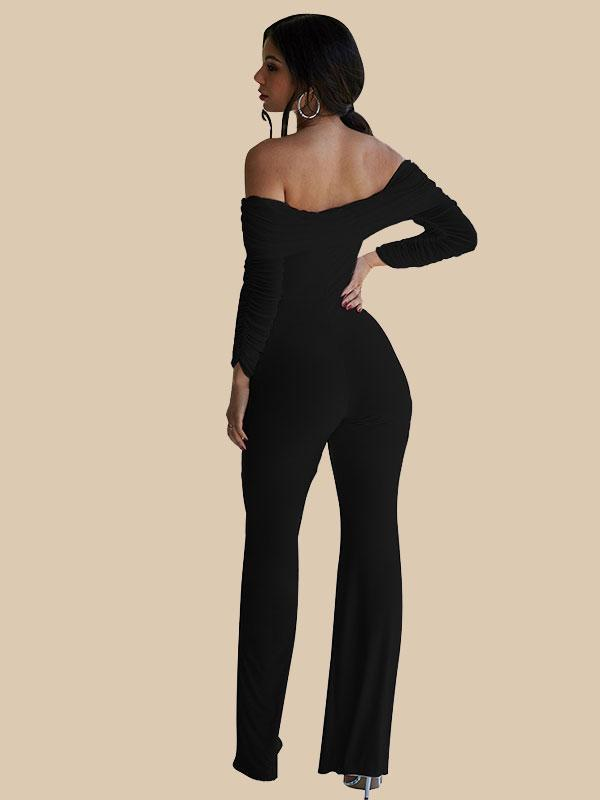 Women's Flared shoulder Solid color jumpsuit