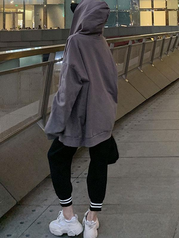 Women's Hooded Long Sleeve Loose Casual Gray Coat