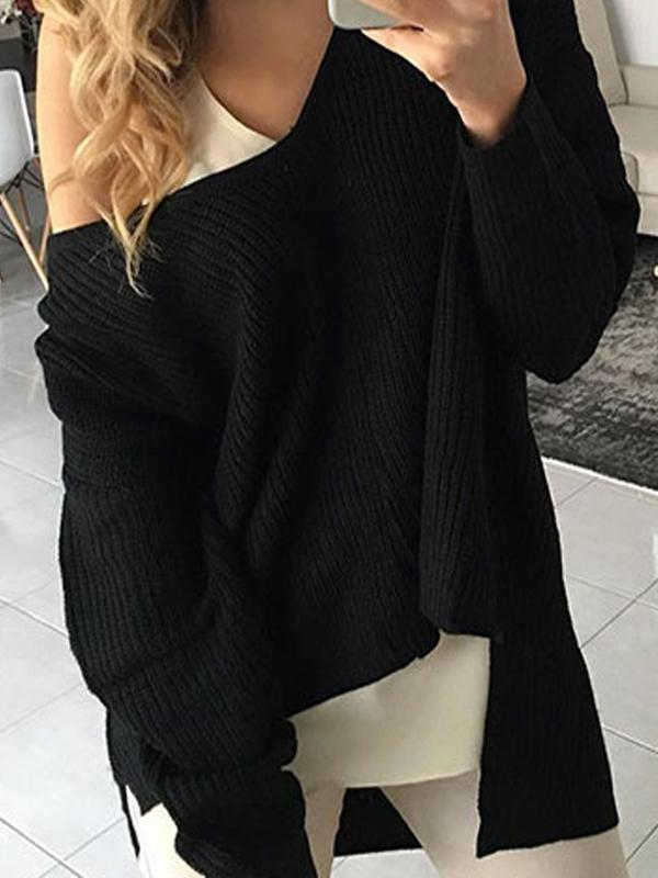 Women's Irregular Long Sleeve Knit Sweater