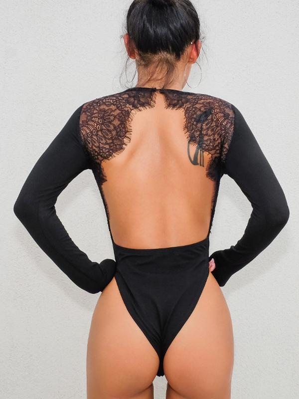women's long sleeve backless solid leotard bodysuit