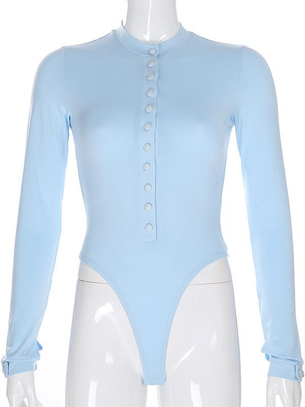 women's long sleeve bodysuit with button
