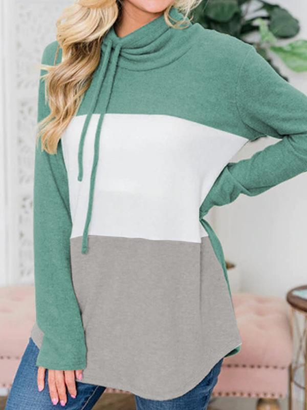 women's long sleeve color block striped pullover hoodie
