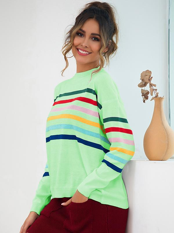 women's long sleeve color block striped pullover sweater