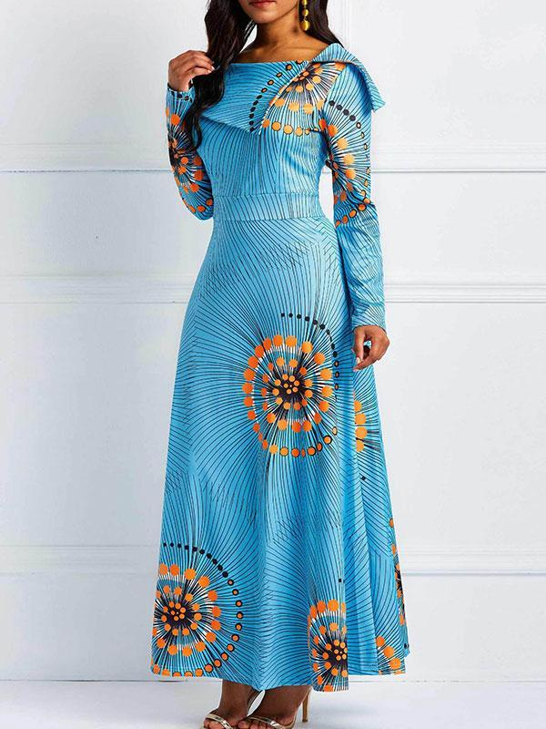 Women's Long sleeve dress with printed lapels