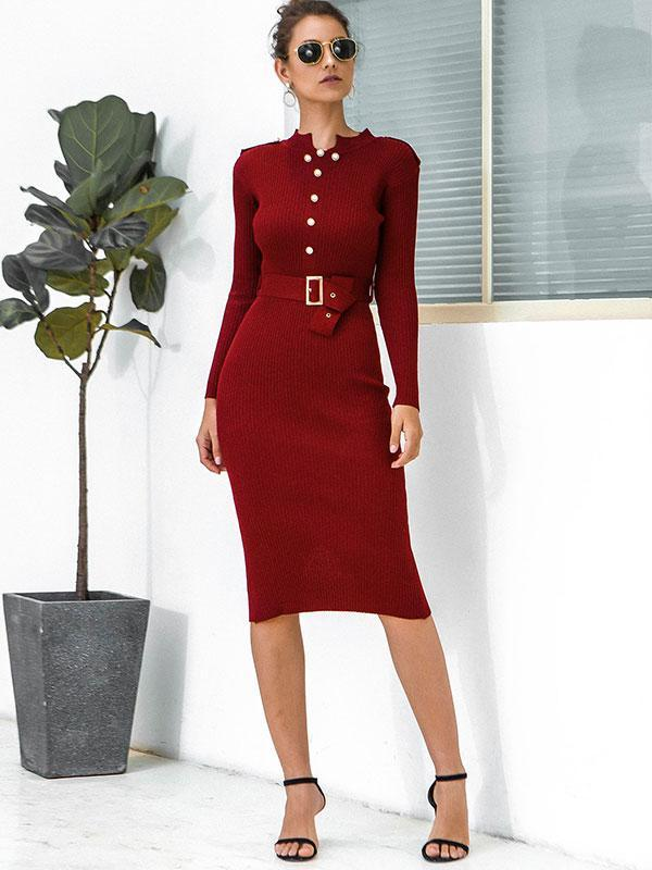 Women's Long Sleeve Lace Up Knitted Small Collar Sweater Dress