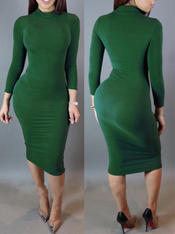 women's long sleeve solid sexy bodycon dress