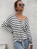 Women's Long Sleeve Striped Knit Sweater