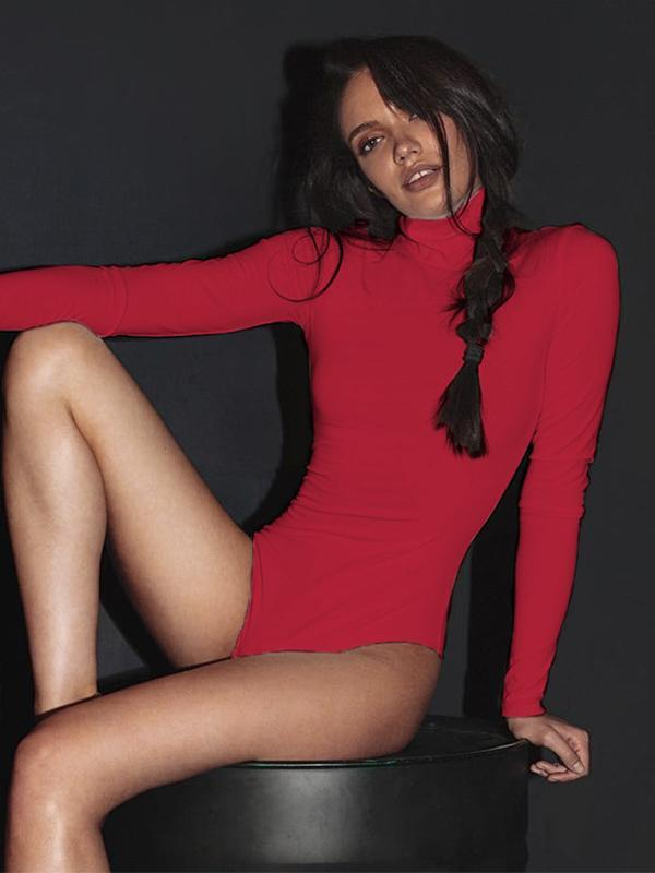 women's long sleeve Turtleneck bodysuit