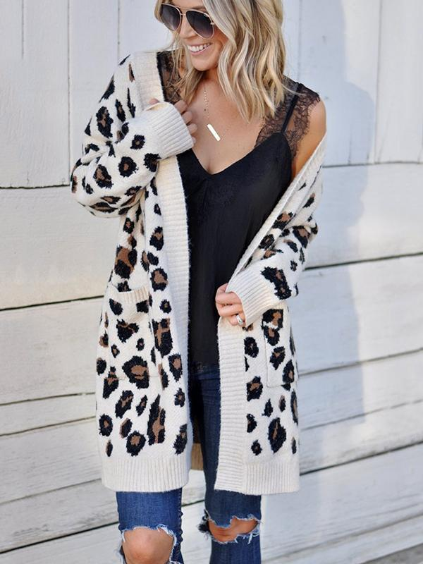 Women's Long Sleeves Leopard Print Knitting Cardigan with Pocket