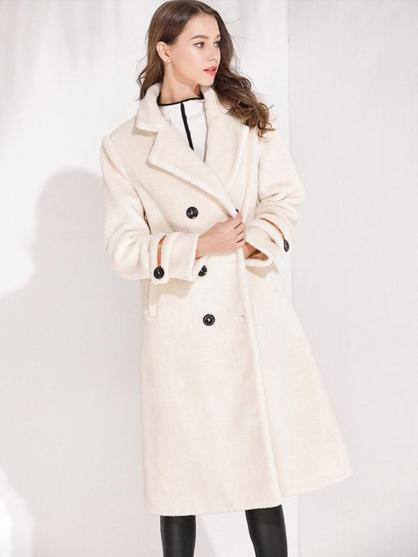 Women's Long Slim Lamb Fur Slim Coat