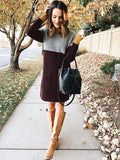Women's Loose Colorblock Round Neck Dress