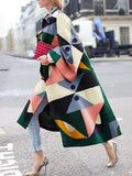 Women's Loose geometric colorful print wool long coat