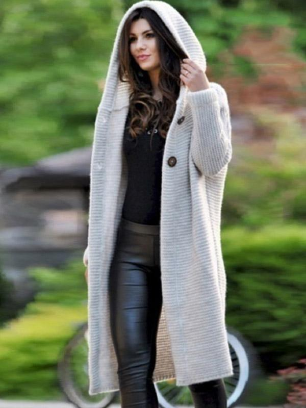 Women's loose knitted cardigan plus size sweater with hooded mid-length coat