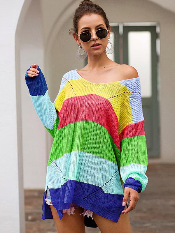 Women's Loose Long Sleeve Colorblock Pullover