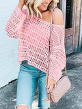 Women's Loose Long Sleeve Solid Knit Mesh Pullover Sweater