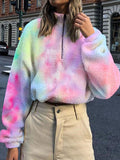Women's Loose Plush Rainbow Coat&Pants