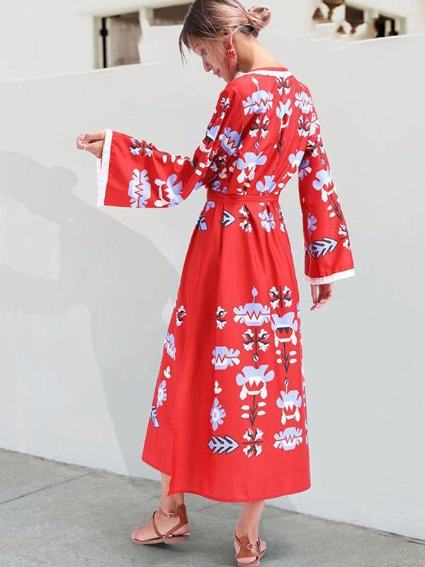 Women's Loose-print long-sleeved dress
