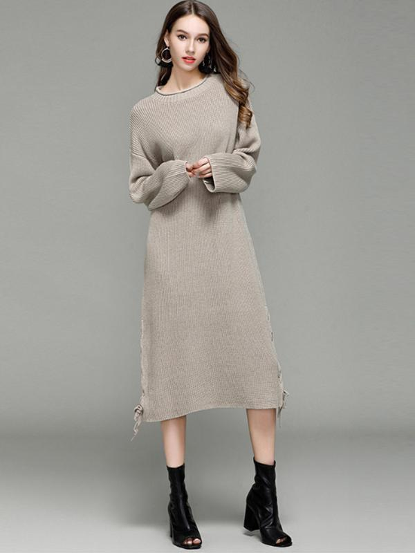 Women's Loose Pure Color Long Sleeve Midi Sweater Dress