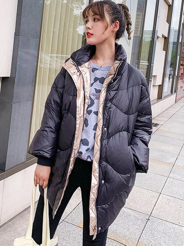 Women's mid-length stand-up collar zip loose shiny down coat