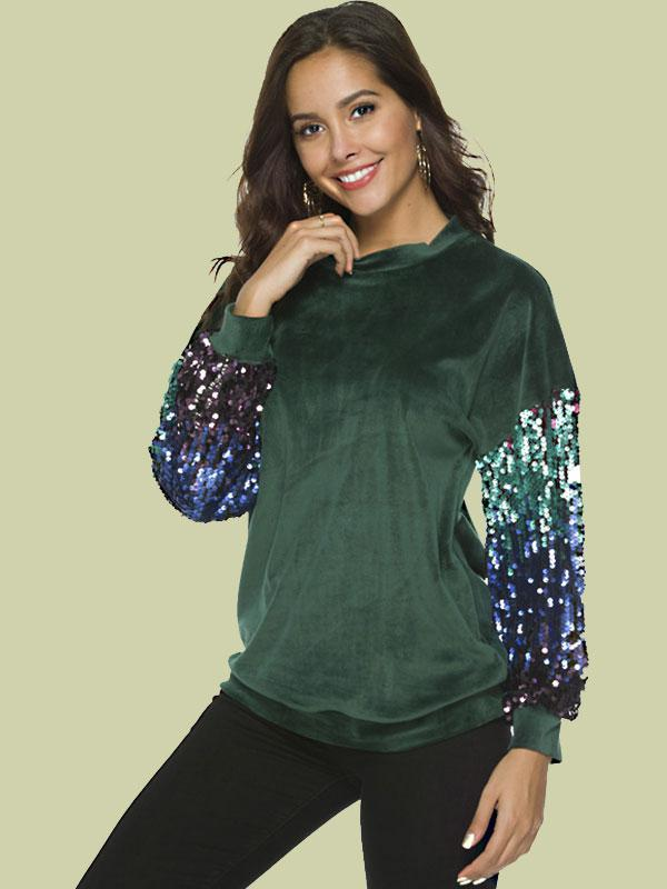 Women's New fashion gradient beaded fleece casual top