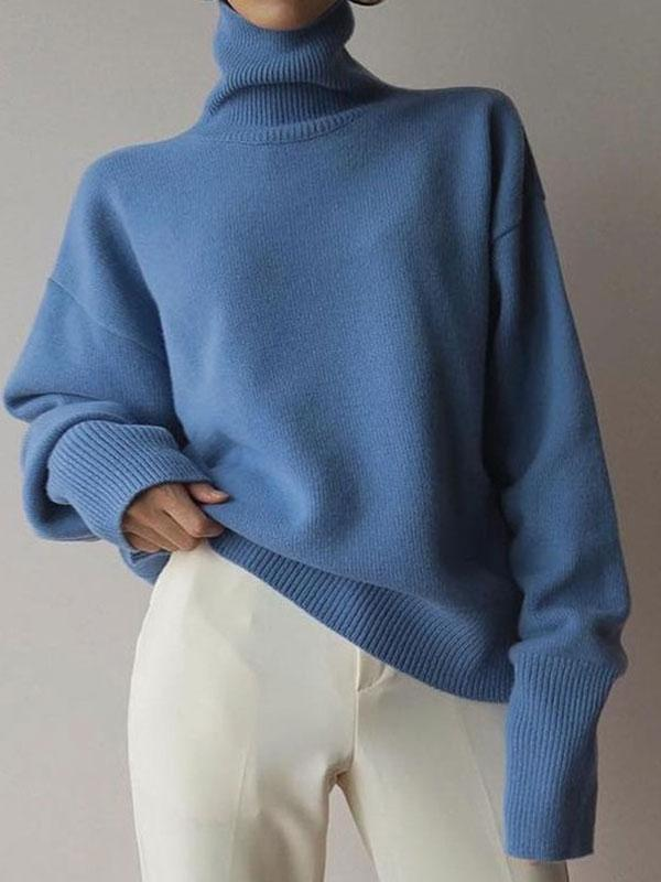 Women's New Fashion Turtleneck Pure Sweater