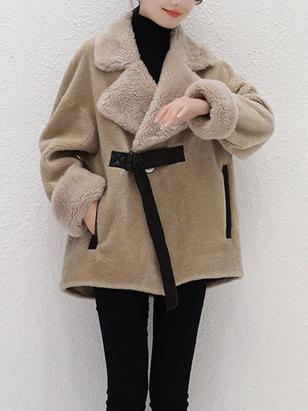 Women's New lambskin lapel coat