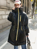 Women's New loose contrast mid-length cotton coat
