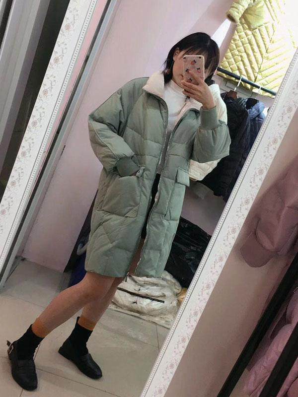 Women's New Loose Large Size Contrast Cotton Coat