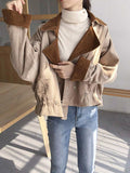 Women's New Loose Short Lapel Double Row Corduroy Jacket