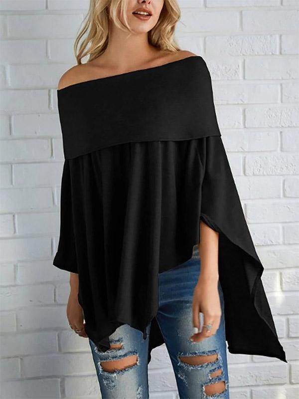 Women's New Off-Shoulder Asymmetrical Hem Bat Long Sleeve Top