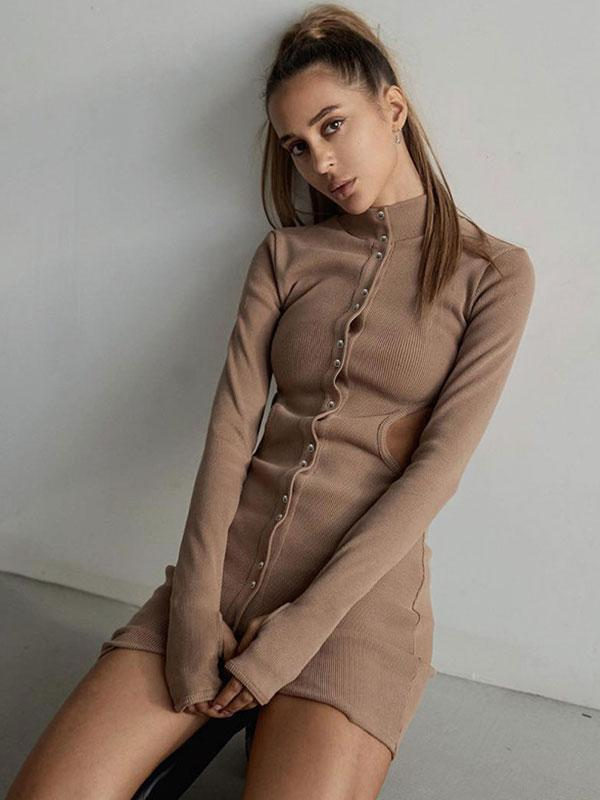 Women's New sexy open waist skinny dress