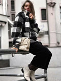 Women's New Woolen Black And White plaid coat