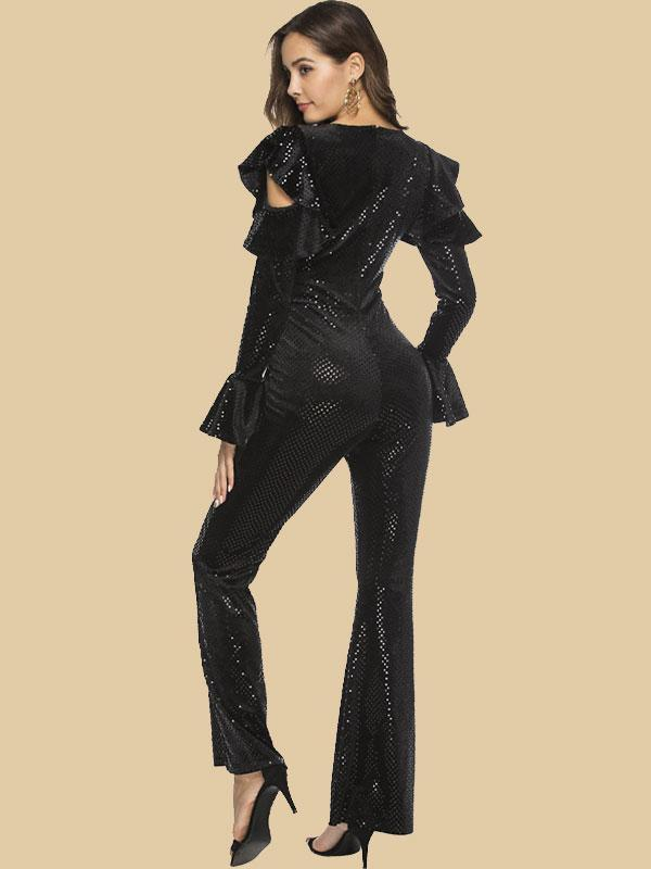 Women's Off Shoulder Deep V Sequin Sexy Black Jumpsuit