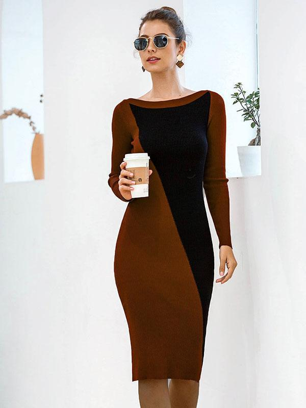 Women's Off-the-shoulder contrast knitted long-sleeve sweater dress