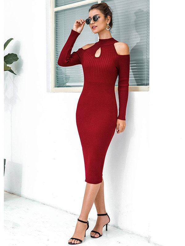 Women's Off-the-shoulder open-knit half-high collar bag hip sweater dress