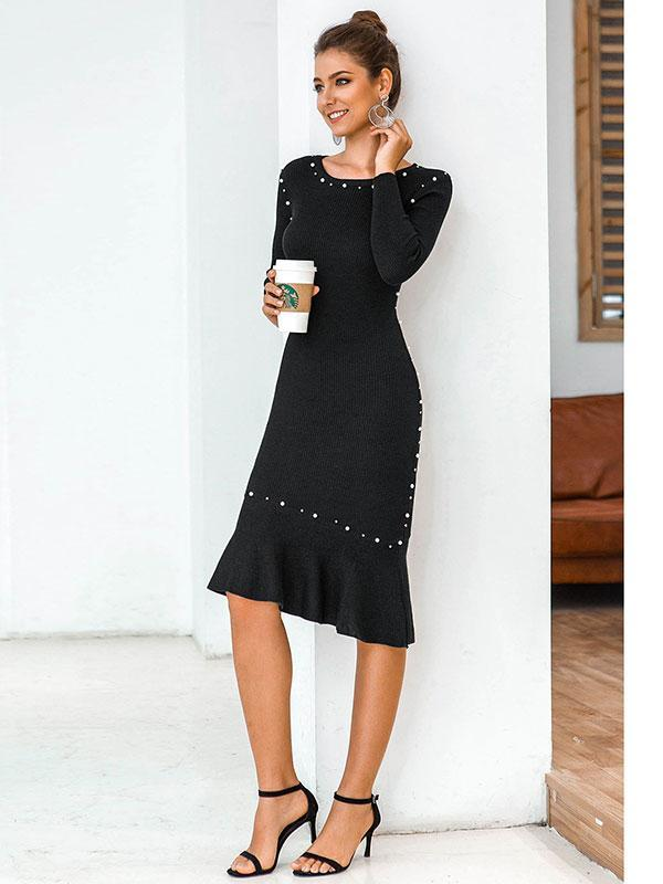 Women's Oversized ruffled mid-length knitted sweater dress