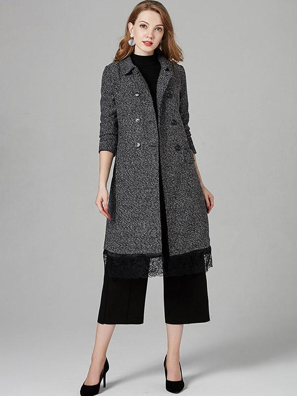 Women's Patchwork lace long wool coat
