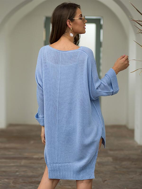 Women's Pullover Batwing Sleeve Loose Hollow Knit Sweaters