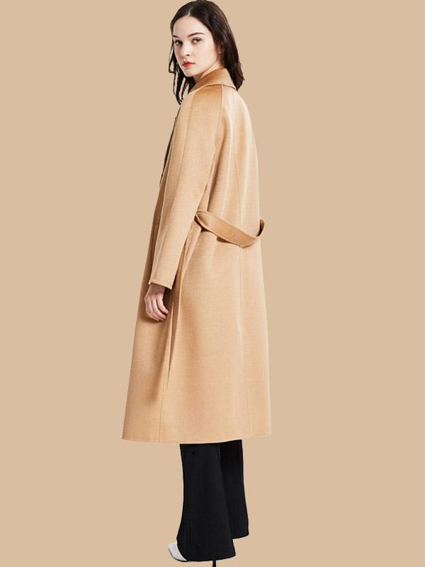 Women's Reversible woolen and cashmere lapel tunic coat