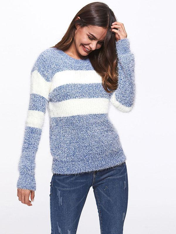Women's Round Neck Striped Knit Sweater