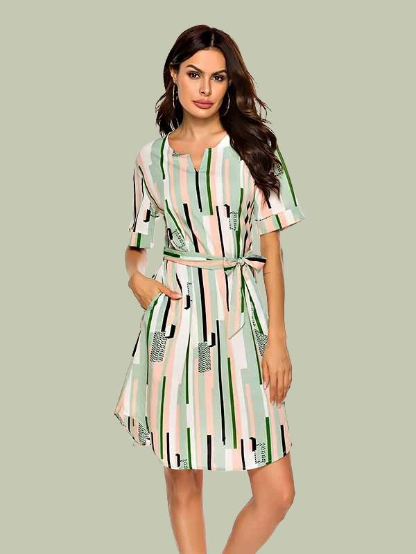 Womens round neck striped mid-rise dress